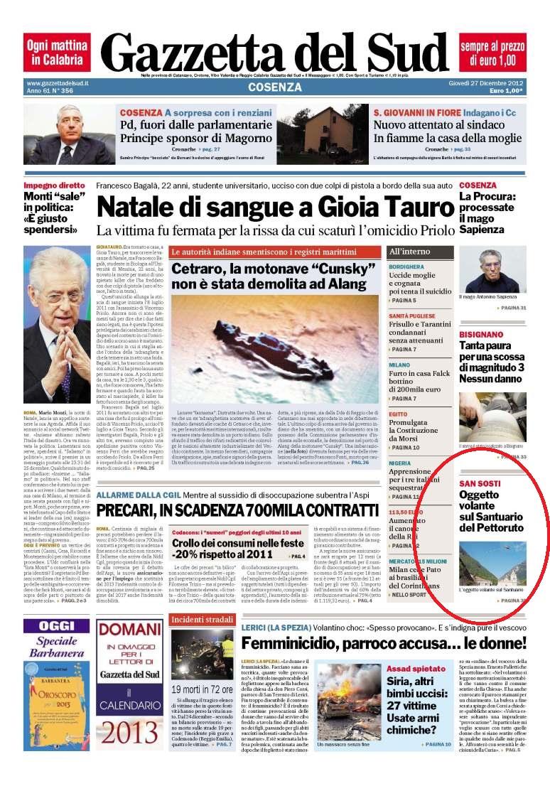 Ufo San Sosti 30 settembre 2012. La Gazzetta del Sud dedica un articolo all'avvistamento.