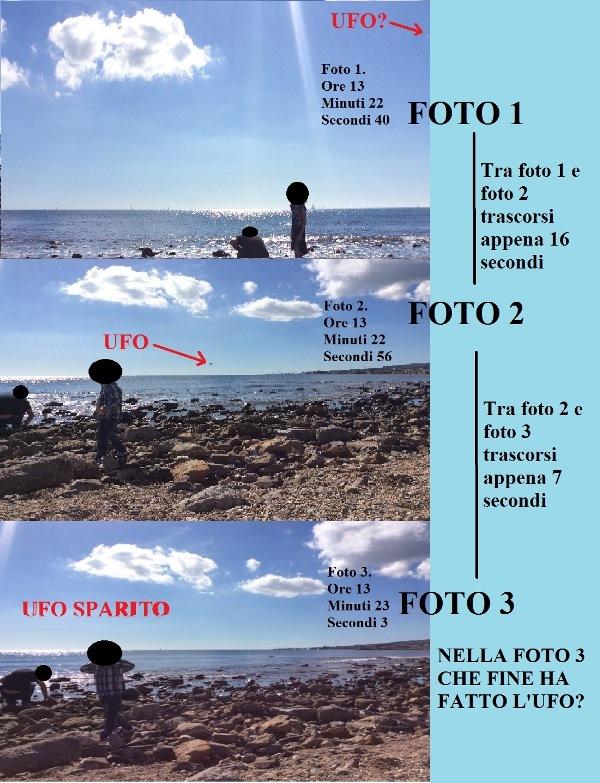 CUFOM. COLLAGE FOTO 1, 2 E 3. Una sequenza che lascia senza fiato. Il disco volante irrompe da sinistra nella scena. Dopo 16 secondi, nella foto 2, l'ufo è al centro dell'immagine. Ulteriori 7 secondi ed il disco nella foto 3 è sparito.In 23 secondi appare e poi si volatilizza. In mezzo uno stazionamento. Veramente notevole.
