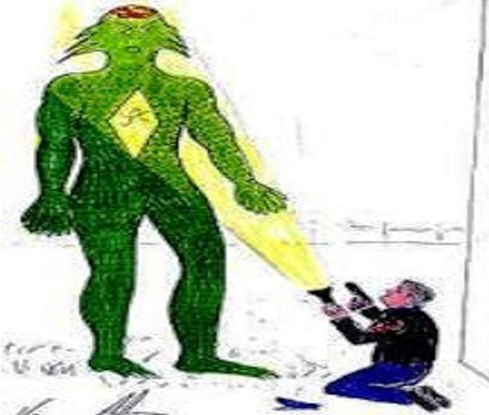 Il terrificante alieno visto da Zanfretta all'inizio della sua esperienza con la razza dei Dargos.