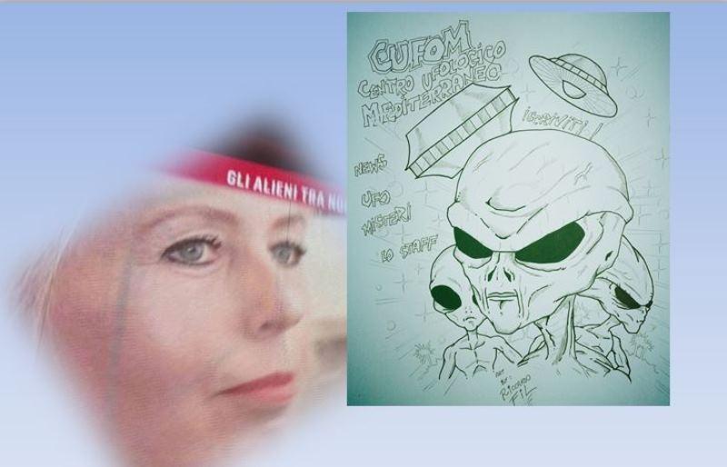 """Iwona Szymanska viene osservata dagli alieni.Il disegno degli alieni,splendido, è stato creato appositamente per questo articolo, di Riccardo Fil, un ottimo artista che collabora anche con le note riviste """"Mistero"""" e """"X-Times. A lui va il nostro ringraziamento."""