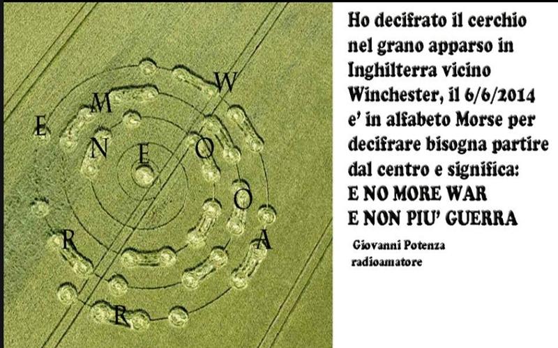 Il cerchio di cui ho decifrato l'alfabeto Morse.