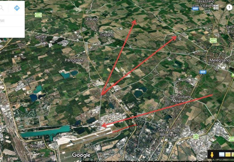 Fig.8. Verifica dei corridoi aerei nei dintorni di Peschiera Borromeo