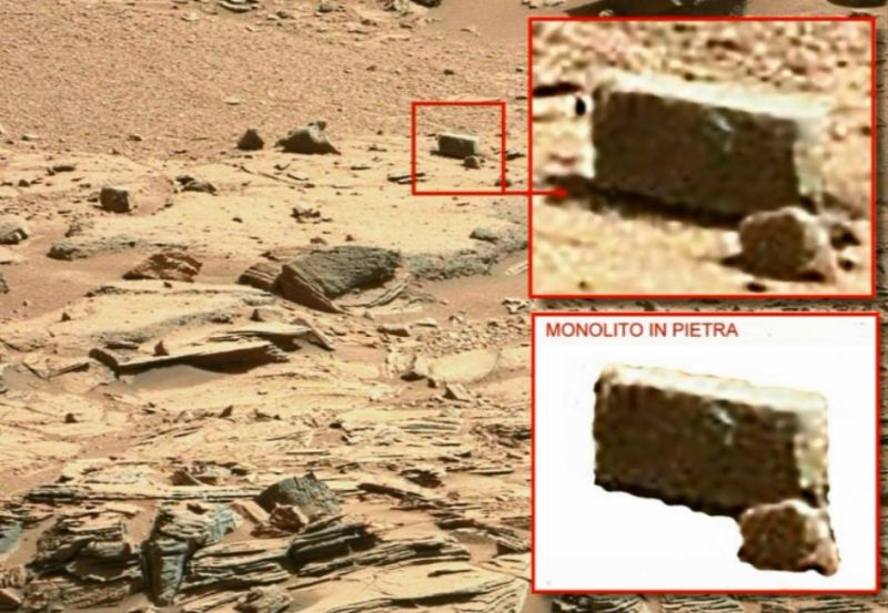 """Fig.3. Un'anomalia che lascia senza fiato anche questa. Una roccia (?) perfettamente squadrata ed a forma di perfetto parallelepipedo. Veramente impressionante. Può la natura fare simili """"scherzi""""?"""