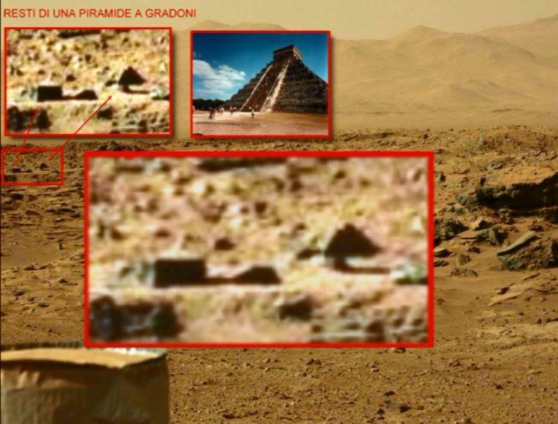 Fig.4. Una Piramide Maya su Marte? L'immagine, rispetto alle prime tre anomalie è meno definita, ma la forma sembra proprio quella di una piramide non naturale...