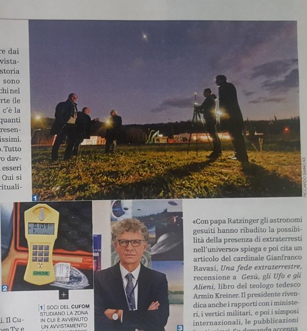 Nella foto si vede il gruppo di ricercatori C.UFO.M. durante un'indagine ed in basso il Presidente e Fondatore Dott. Angelo Carannante. Si vede anche un contatore geiger.