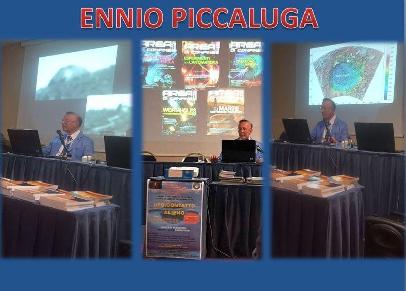 Relazione di Ennio Piccaluga, ripreso in tre immagini in collage.