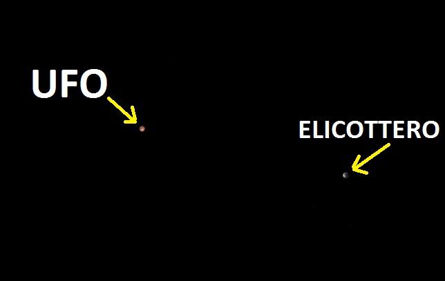 Fig. 3. Ufo a Massa Carrara. Alla destra del campo visivo, compare un elicottero che si avvicina all'ufo.