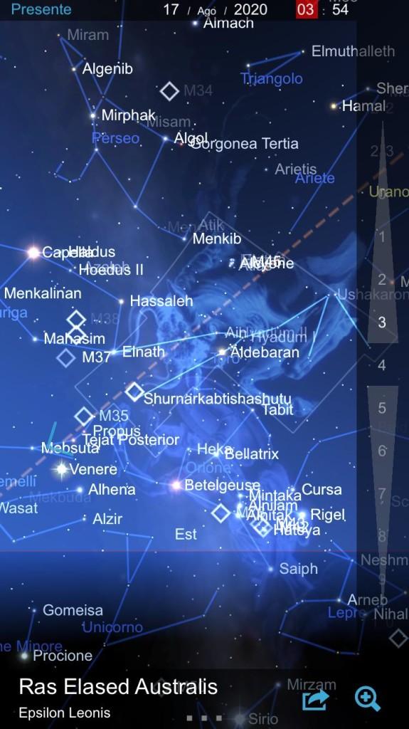 Mappa celeste della notte del 17.08.2020, per la parte di cielo che ci interessa