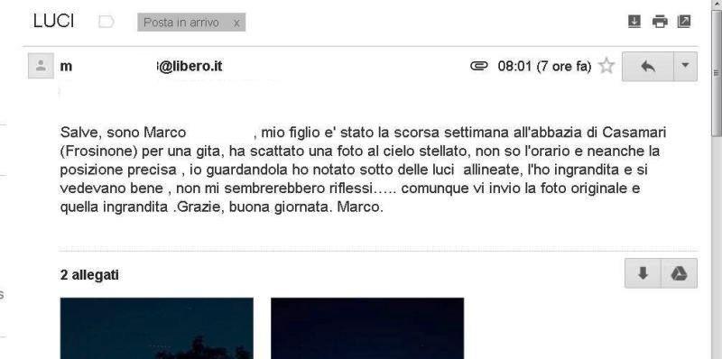 SEGNALAZIONE UFO A CASAMARI, FROSINONE